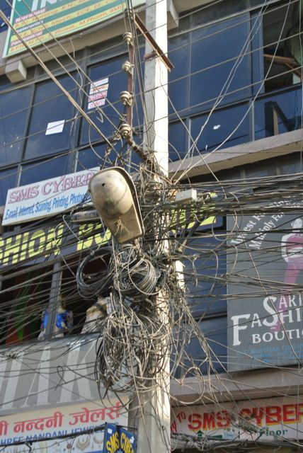 Typical power pole contributing to Katmandu's power shortage