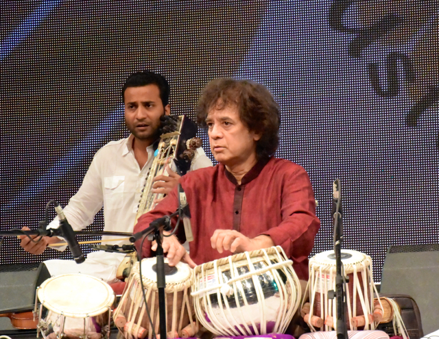 Zakir Hussain, fourteen hours into the marathon concert.