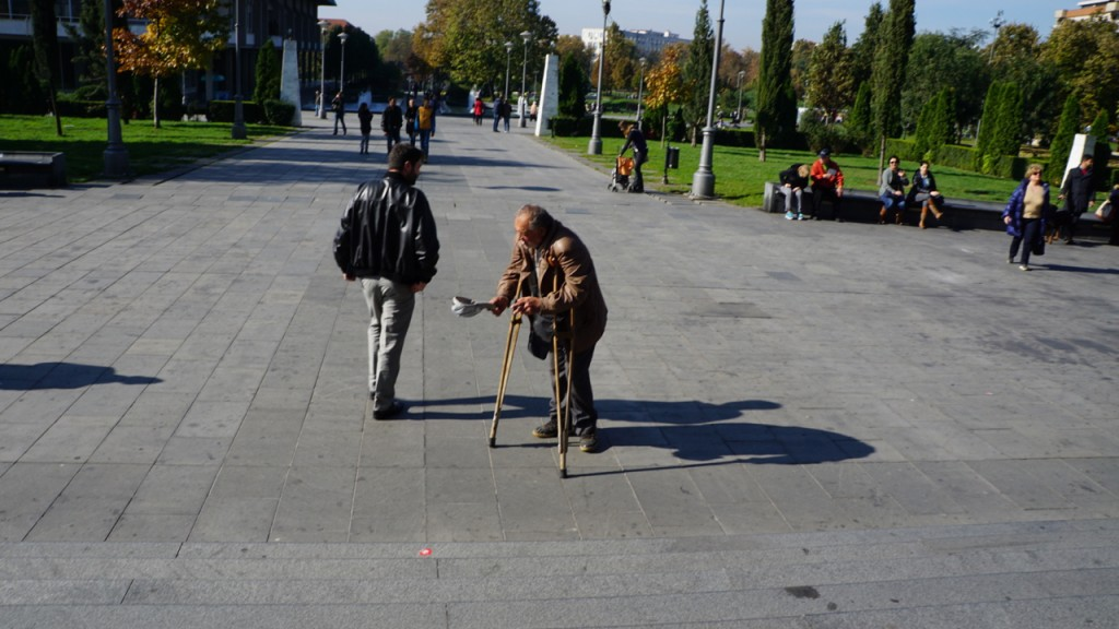 Beggar outside the main cathedral