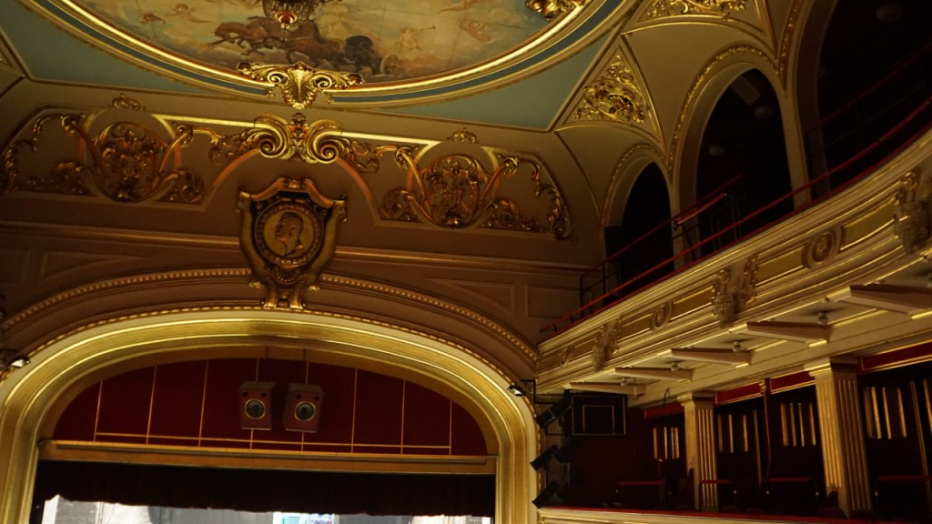 Belgrade Opera House ceiling viewed from the balcony