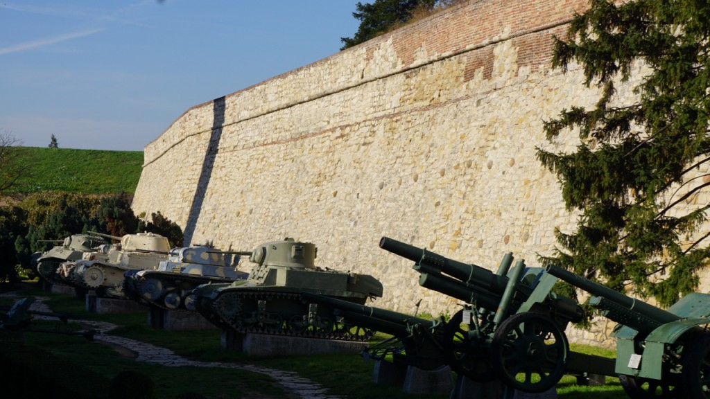 World War I weapons outside the Belgrade fortress