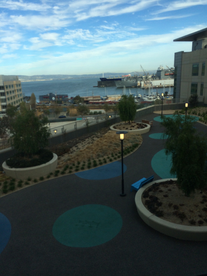 The view of the San Francisco Bay from the rooftop garden of the Children's Hospital