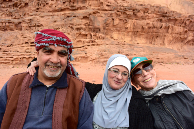 Our Jordanian driver & guide Mazen, with his wife Sana, and Susan