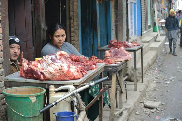 Buffalo (not cow) meat for sale on Katmandu street