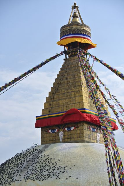 Bouda Stupa Crown: Similar eyes are found on many other stupas in Nepal and Tibet