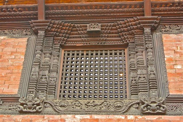 Magnificent Newar window, one of thousands preserved in Bhaktapur