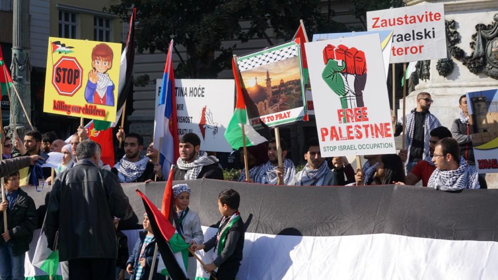 Pro-Palestinian-anti-Israel demonstration in Belgrade