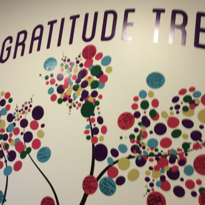 Visitors write their expressions of gratitude on little stickers which then blossom into the Gratitude Tree.